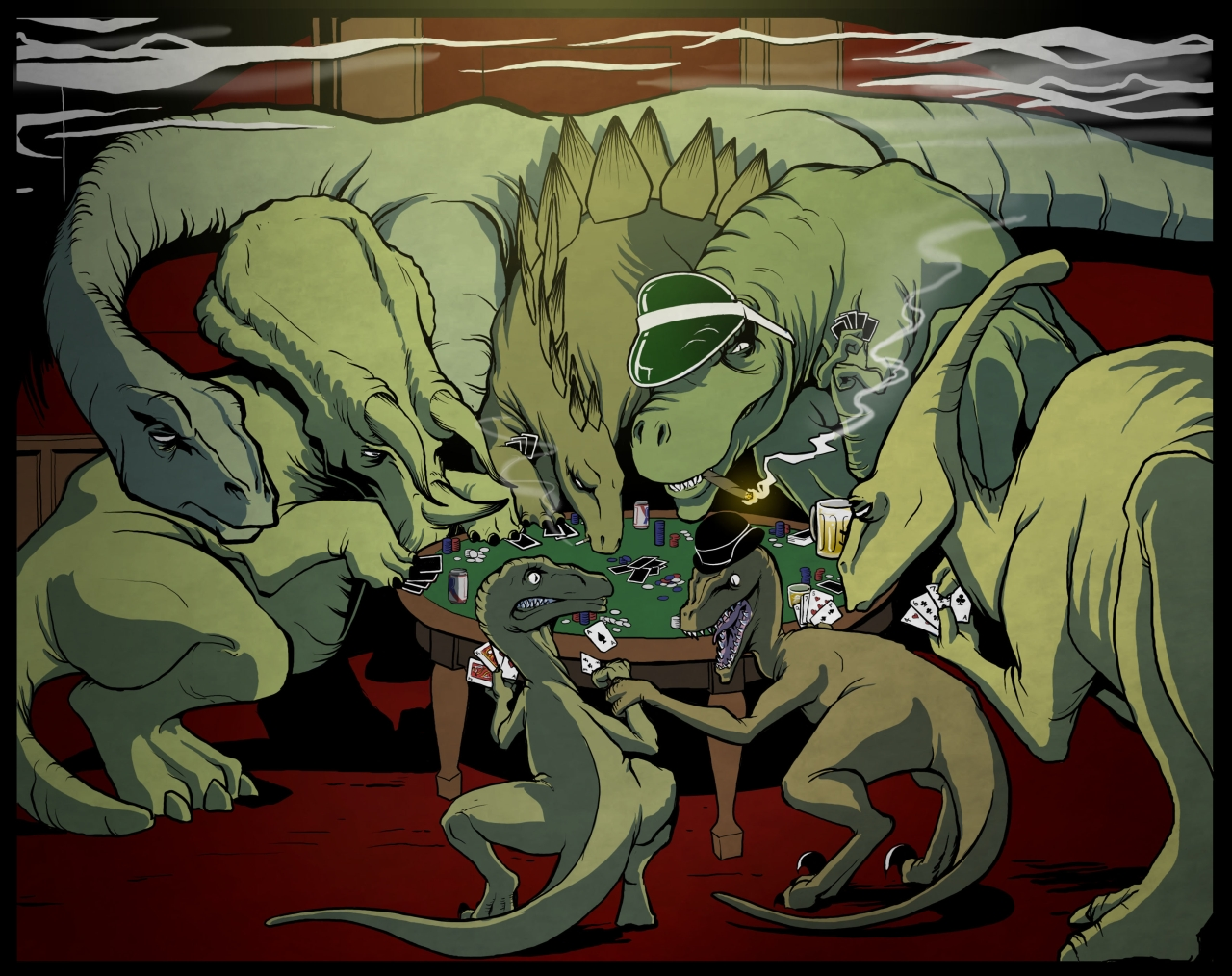 Dinosaurs Playing Poker! - Click To View Image