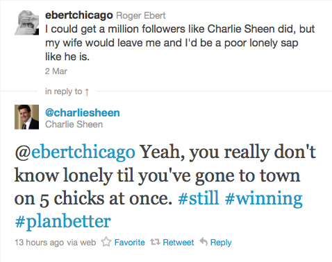 Charlie Sheen vs Roger Ebert - Click To View Image